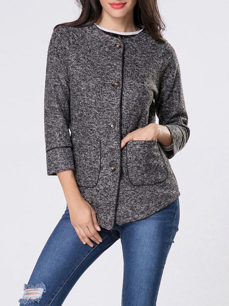 Collarless Patch Pocket Single Breasted Contrast Trim Coat - Bychicstyle.com