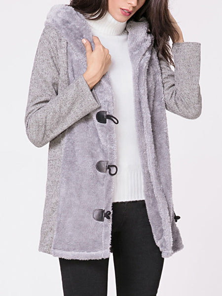 Hooded Single Breasted Fluffy Patchwork Coat - Bychicstyle.com