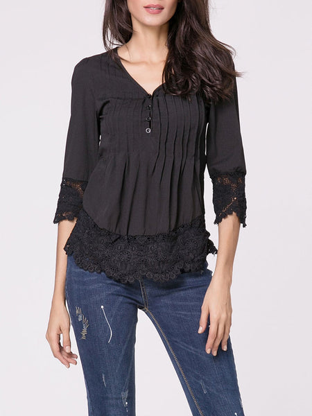 V Neck Plain Lace Patchwork Blouse - Bychicstyle.com