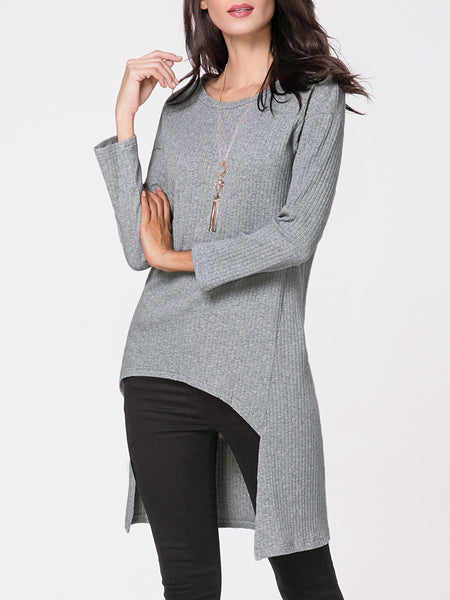 Round Neck Ribbed Dip Hem Plain Sweater - Bychicstyle.com