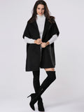 ByChicStyle Hooded Plain Side-vented Poncho Woolen Coat - Bychicstyle.com