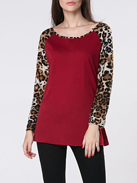 Round Neck Leopard Printed Patchwork Long Sleeve T-Shirt - Bychicstyle.com