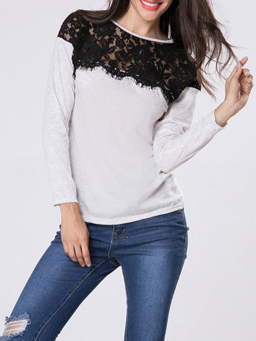 Crew Neck Patchwork Hollow Out Sweatshirt - Bychicstyle.com