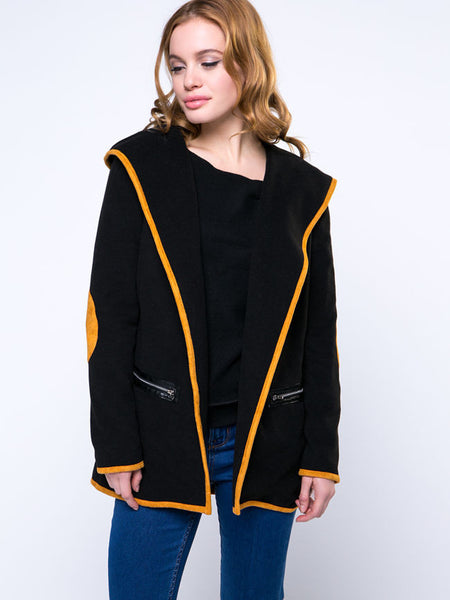 Hooded Trendy Contrast Trim Zips Coat - Bychicstyle.com