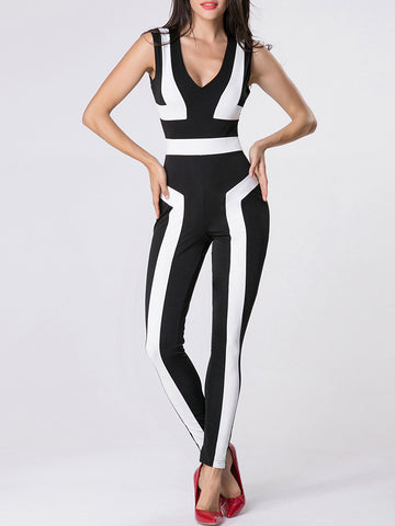 Deep V-Neck Color Block Jumpsuit - Bychicstyle.com