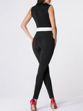 ByChicStyle Deep V-Neck Color Block Jumpsuit - Bychicstyle.com