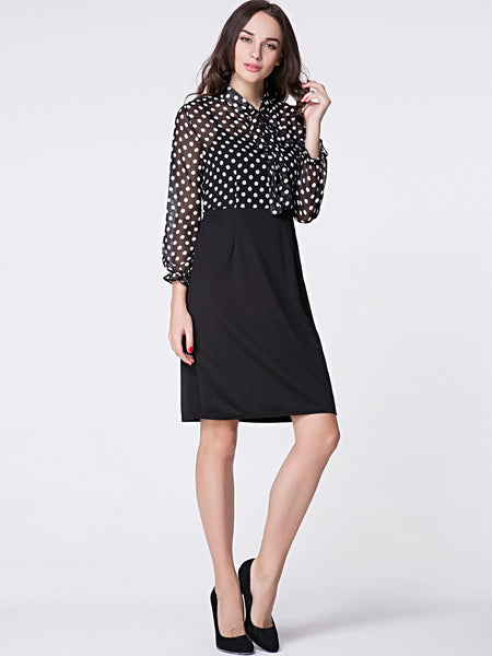 Tie Collar Polka Dot Patchwork Bodycon Dress - Bychicstyle.com