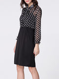 ByChicStyle Tie Collar Polka Dot Patchwork Bodycon Dress - Bychicstyle.com