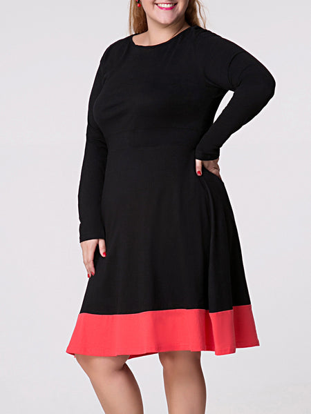 Round Neck Color Block Plus Size Flared Dress - Bychicstyle.com