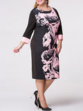 ByChicStyle Casual Round Neck Abstract Print Plus Size Bodycon Dress