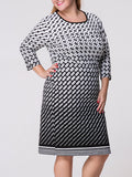 ByChicStyle Round Neck Geometric Printed Plus Size Shift Dress - Bychicstyle.com