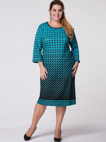 Round Neck Geometric Printed Plus Size Shift Dress - Bychicstyle.com