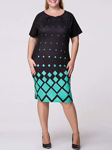 Round Neck Geometric Printed Plus Size Bodycon Dress - Bychicstyle.com
