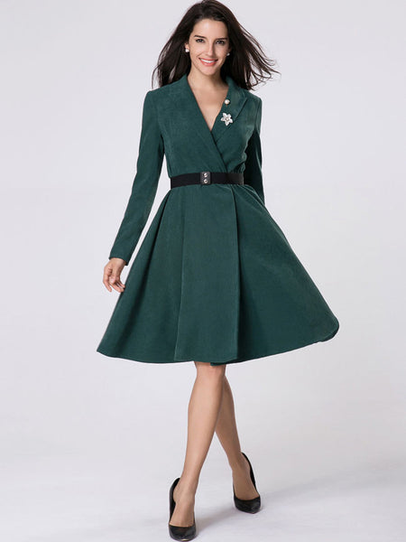 Lapel Belt Plain Swing Trench Coat With Brooch - Bychicstyle.com