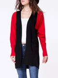 ByChicStyle Collarless Color Block Batwing Sleeve Slit Pockets Cardigan - Bychicstyle.com