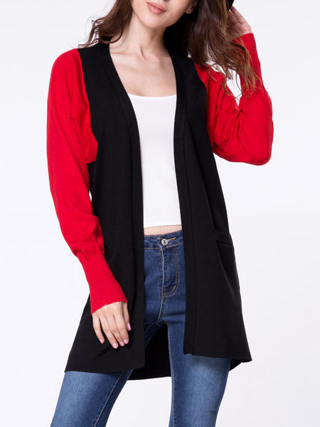 Collarless Color Block Batwing Sleeve Slit Pockets Cardigan - Bychicstyle.com