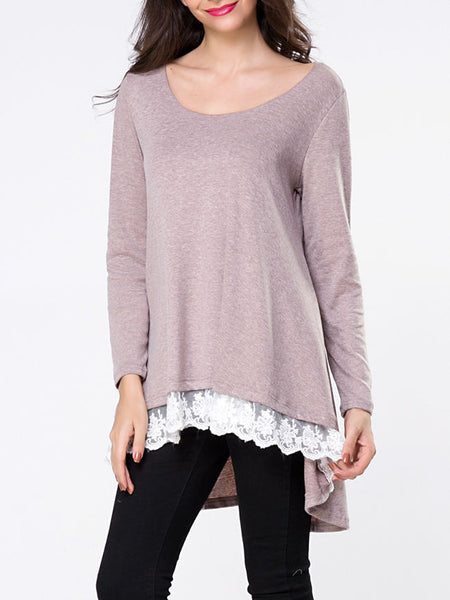 Round Neck Patchwork Dip Hem Long Sleeve T-shirt - Bychicstyle.com