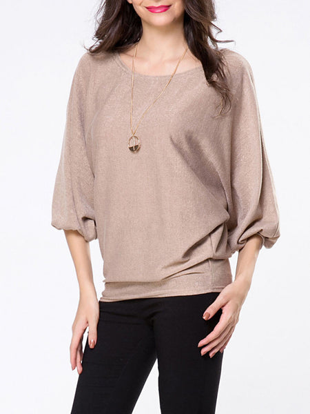 Round Neck Plain Batwing Sleeve Sweater - Bychicstyle.com