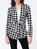 ByChicStyle Collarless Houndstooth Bowknot Cardigan - Bychicstyle.com