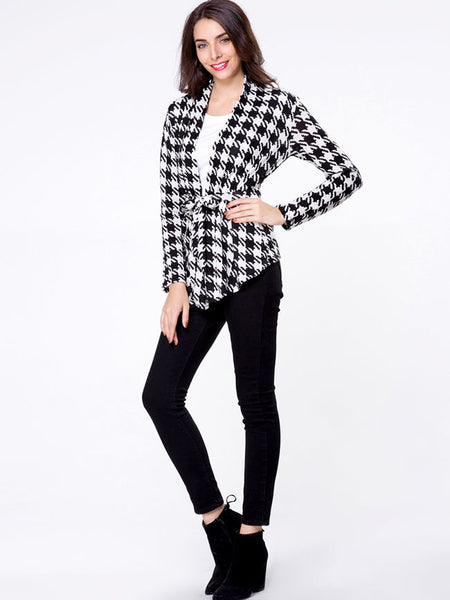 Collarless Houndstooth Bowknot Cardigan - Bychicstyle.com