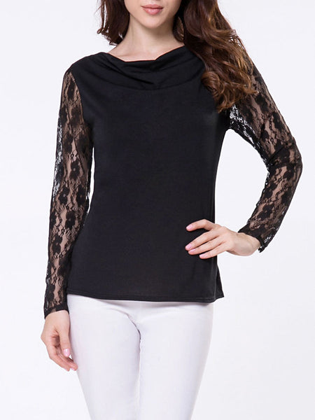 Cowl Neck Plain Lace Patchwork Long Sleeve T-shirt - Bychicstyle.com
