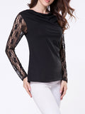 ByChicStyle Cowl Neck Plain Lace Patchwork Long Sleeve T-shirt - Bychicstyle.com