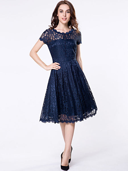 Decorative Buttons Hollow Out Sexy Lace Skater Dress - Bychicstyle.com
