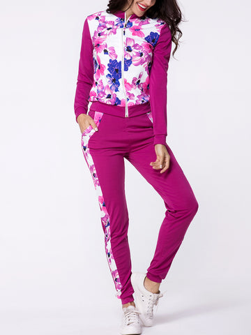Casual Band Collar Floral Printed Zips Jacket And Slit Pockets Slim-leg Mid-rise Pant