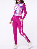 Streetstyle  Casual Band Collar Floral Printed Zips Jacket And Slit Pockets Slim-leg Mid-rise Pant