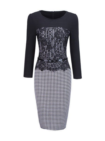 Casual Round Neck Decorative Lace Belt Houndstooth Bodycon Dress