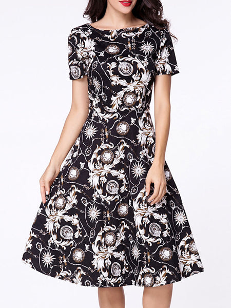 Boat Neck Paisley Printed Short Sleeve Skater Dress - Bychicstyle.com