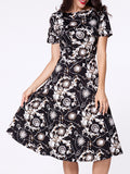 ByChicStyle Boat Neck Paisley Printed Short Sleeve Skater Dress - Bychicstyle.com