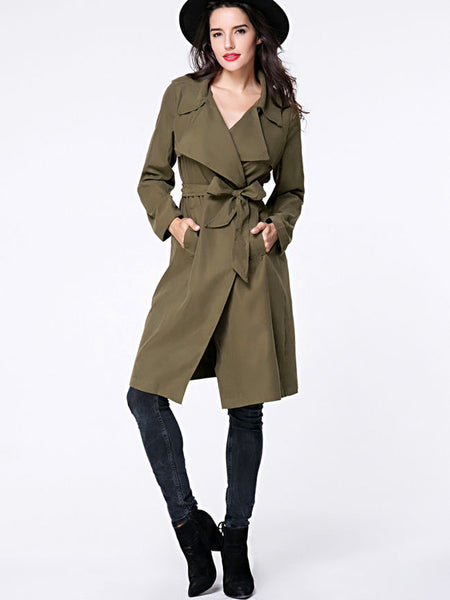 Lapel Removable Tie Pocket Vented Wrap Trench Coat - Bychicstyle.com