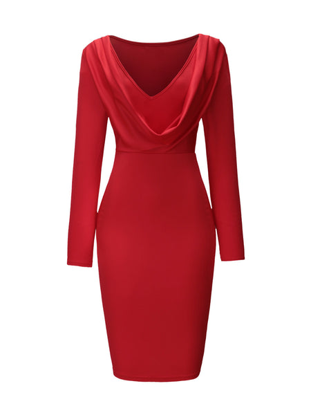 Captivating Deep V-Neck Pleated Plain Bodycon Dress - Bychicstyle.com