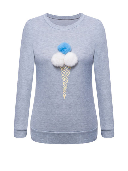 Round Neck Fur Ball Ice-cream Printed Sweatshirt - Bychicstyle.com
