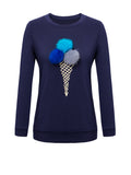 ByChicStyle Round Neck Fur Ball Ice-cream Printed Sweatshirt - Bychicstyle.com
