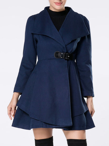 Lapel Single Button Woolen Coat - Bychicstyle.com
