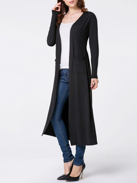 Collarless Patch Pocket Plain Duster Cardigan - Bychicstyle.com