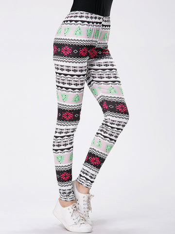 Christmas Striped Printed Mid-Rise Legging - Bychicstyle.com