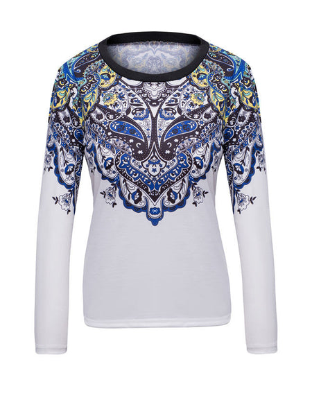 Round Neck Floral Paisley Printed Sweatshirt - Bychicstyle.com