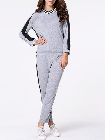 Color Block Hoodie And Straight Mid-Rise Pant - Bychicstyle.com
