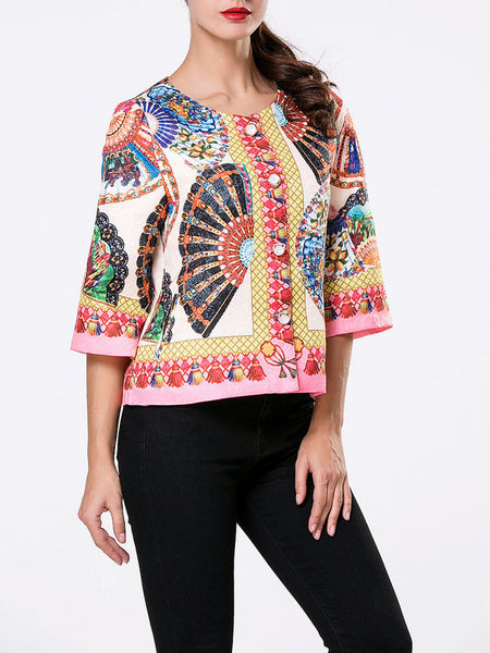 Collarless Single Breasted Tribal Printed Coat - Bychicstyle.com