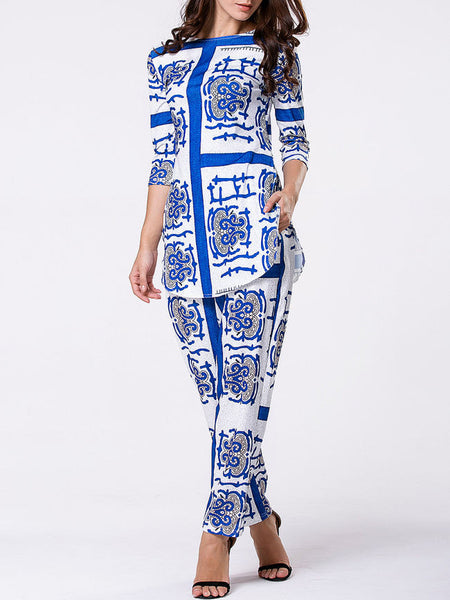 Boat Neck Side-Vented Printed Top And Mid-Rise Straight Pant - Bychicstyle.com