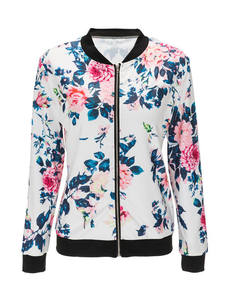 Casual Band Collar Floral Printed Bomber Jacket