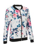 ByChicStyle Casual Band Collar Floral Printed Bomber Jacket