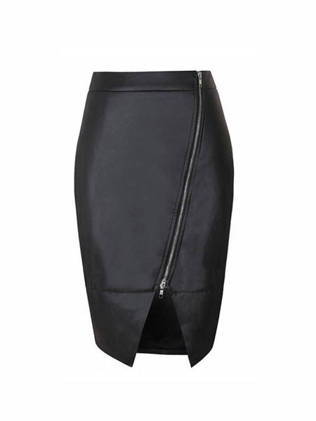 Faux Leather Asymmetric Zip Skirt - Bychicstyle.com