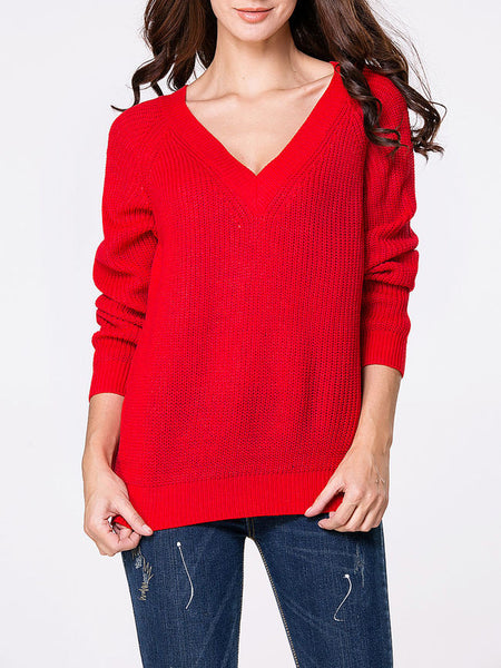 Casual Deep V-Neck Loose Fitting Plain Sweater