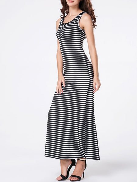 Round Neck Striped Maxi Dress - Bychicstyle.com
