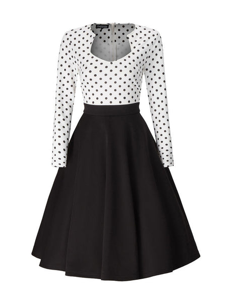 Casual Polka Dot Color Block Skater Dress