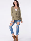 ByChicStyle Surplice Plain High-Low Long Sleeve T-Shirt - Bychicstyle.com